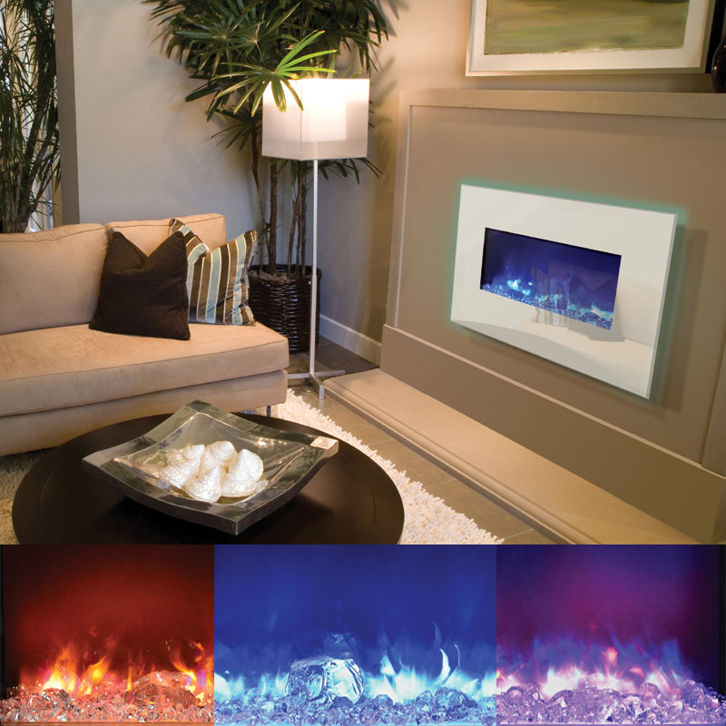 Amantii Fire & Ice Wall Mount or Built-in Electric Fireplace w ...