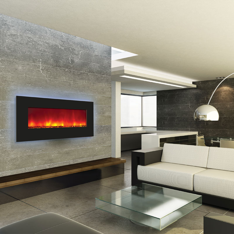 Amantii Backlit Wall Mount Or Built In Electric Fireplace W 44x23 In Black Glass Surround Wm Bi