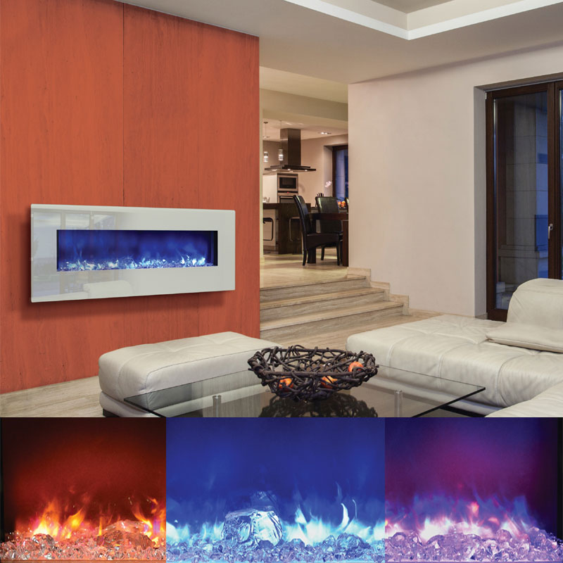 Amantii Fire Ice Wall Mount Or Built In Electric Fireplace W 58x23 In White Glass Surround Wm