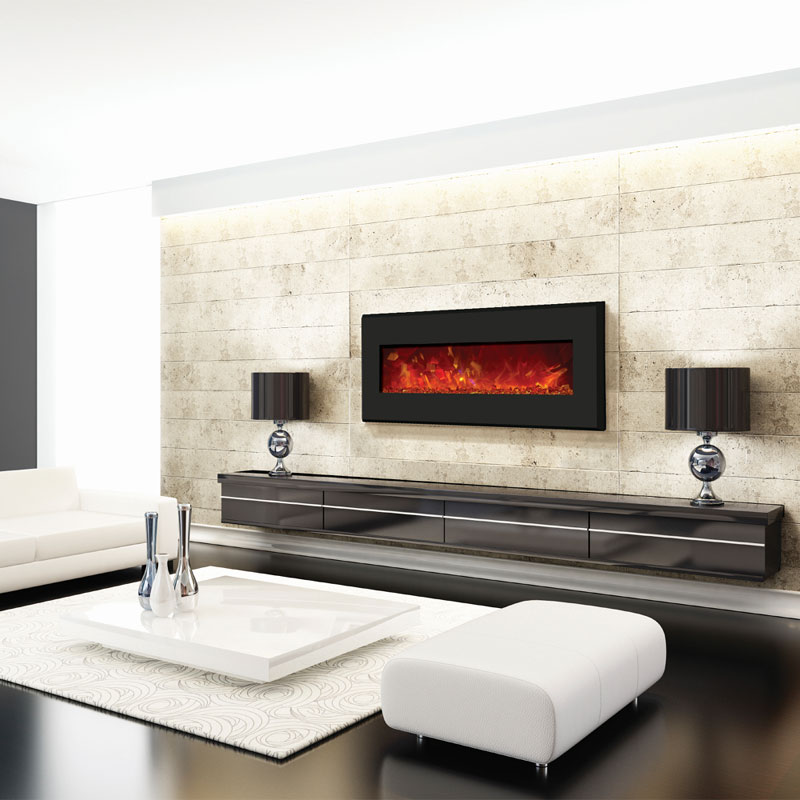 Amantii Wall Mount Or Built In Electric Fireplace W 64x21 In Black Steel Surround Wm Bi 58 6421