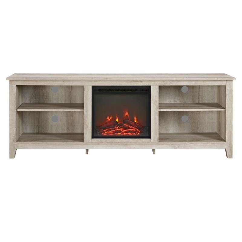 Walker Edison 70 Inch Tv Stand With Electric Fireplace White Oak W70fp18wo