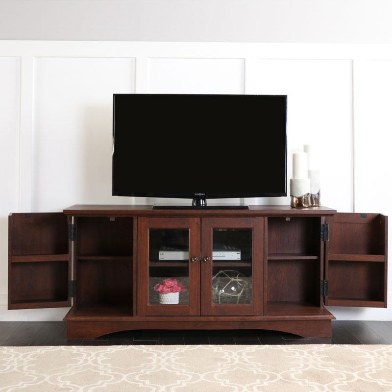 walker edison 55 inch tv console with media storage espresso wq52c4dres. Black Bedroom Furniture Sets. Home Design Ideas