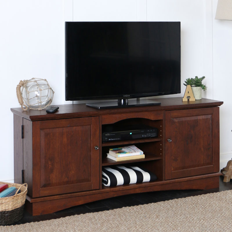 walker edison 65 inch tv console with media storage traditional brown wq60c73tb. Black Bedroom Furniture Sets. Home Design Ideas