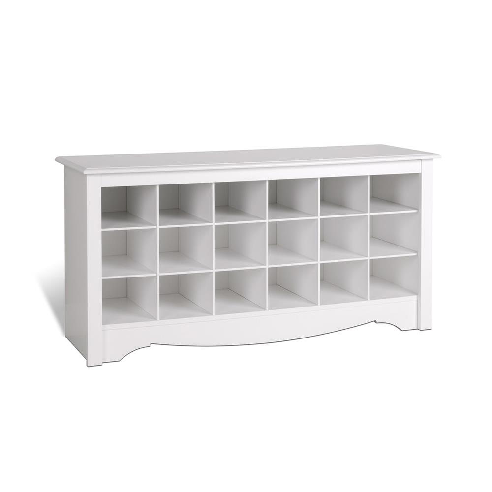Foyer Bench Shoe Storage : Prepac entryway shoe storage cubbie bench white wss