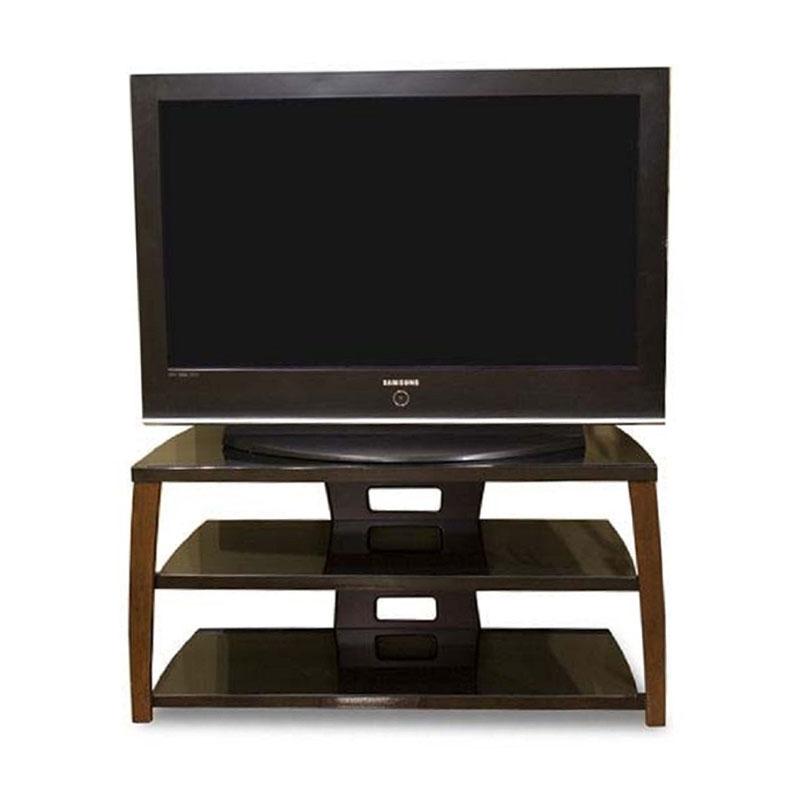 tech craft monaco walnut black glass tv stand for 30 42 inch screens xii42w. Black Bedroom Furniture Sets. Home Design Ideas