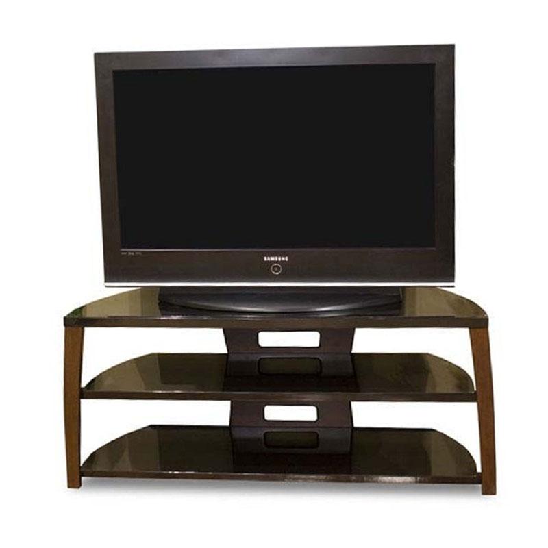 tech craft monaco walnut black glass tv stand for 43 50. Black Bedroom Furniture Sets. Home Design Ideas