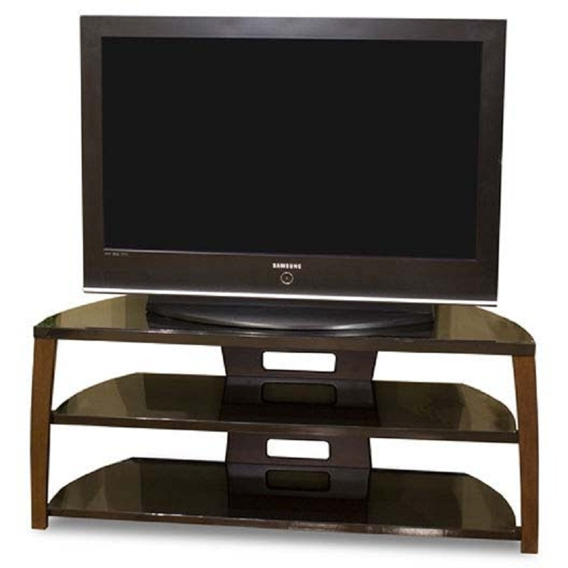 Tech craft monaco walnut black glass tv stand for 43 50 for Tech craft tv stands