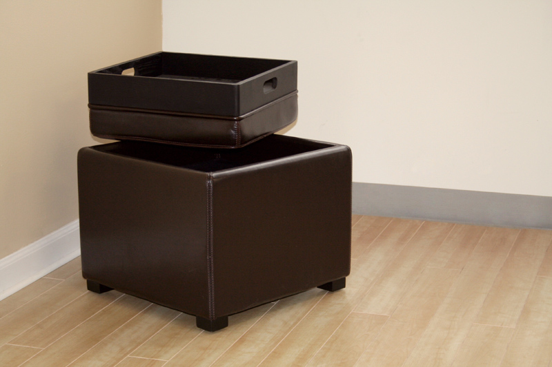 Wholesale interiors bicast leather storage ottoman brown d for Dark brown leather storage ottoman
