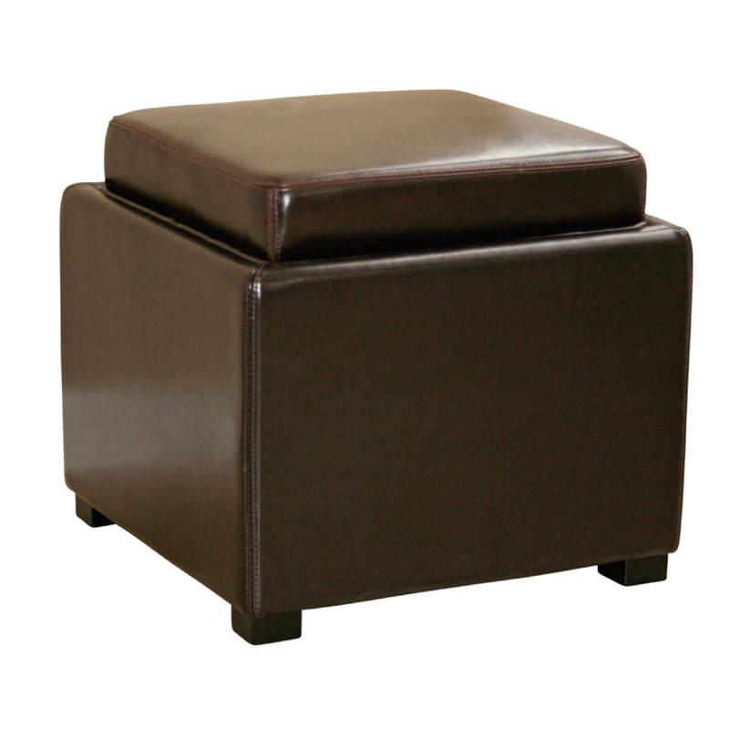 Wholesale Interiors Bicast Leather Storage Ottoman Brown D