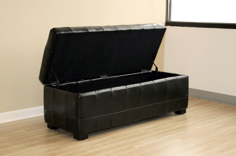 Wholesale Interiors Bicast Leather Storage Ottoman Black Y 105 J023 Black