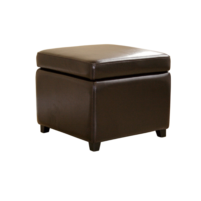 Wholesale interiors bicast leather storage ottoman brown y for Dark brown leather storage ottoman