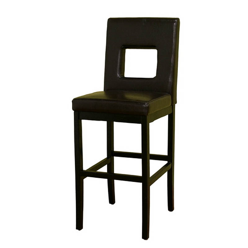 Wholesale Interiors Cognac Dark Brown Leather Bar Stool: Object Moved