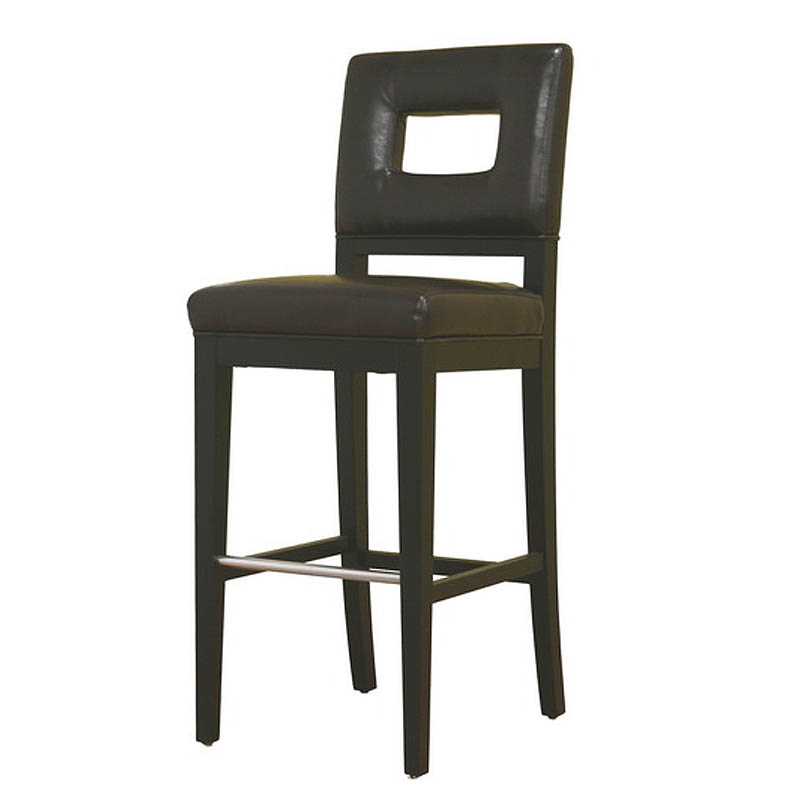 Wholesale Interiors Cognac Dark Brown Leather Bar Stool: Wholesale Interiors Faustino Dark Brown Leather Bar Stool