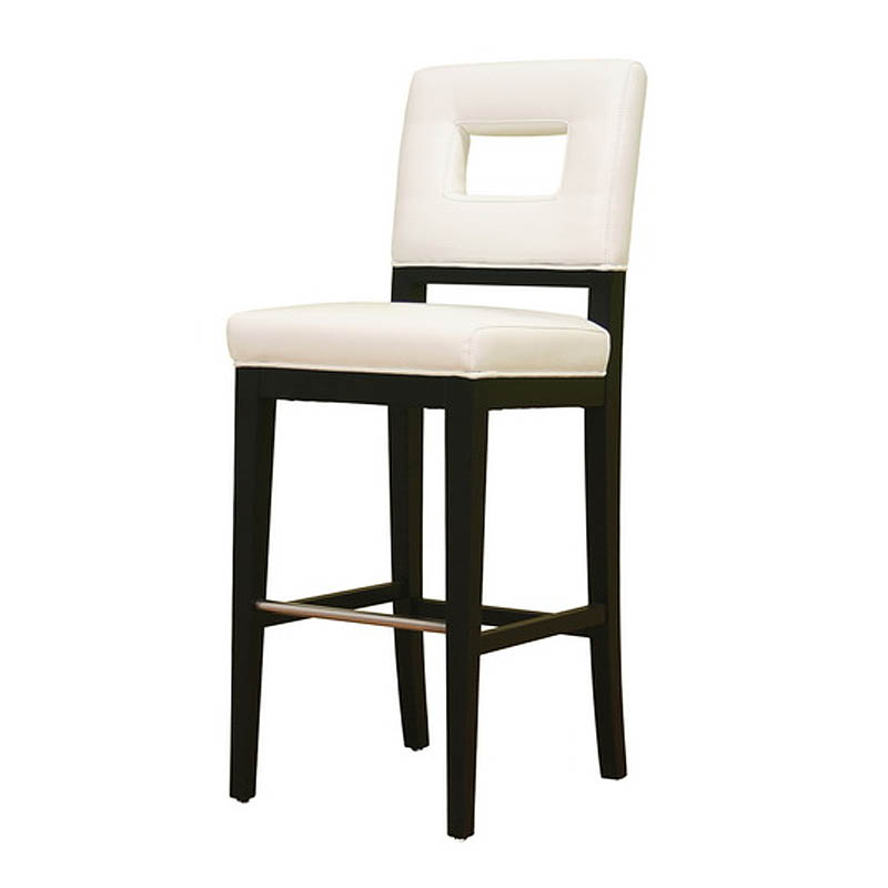 Wholesale Interiors Cognac Dark Brown Leather Bar Stool: Wholesale Interiors Bianca White Leather Bar Stool In