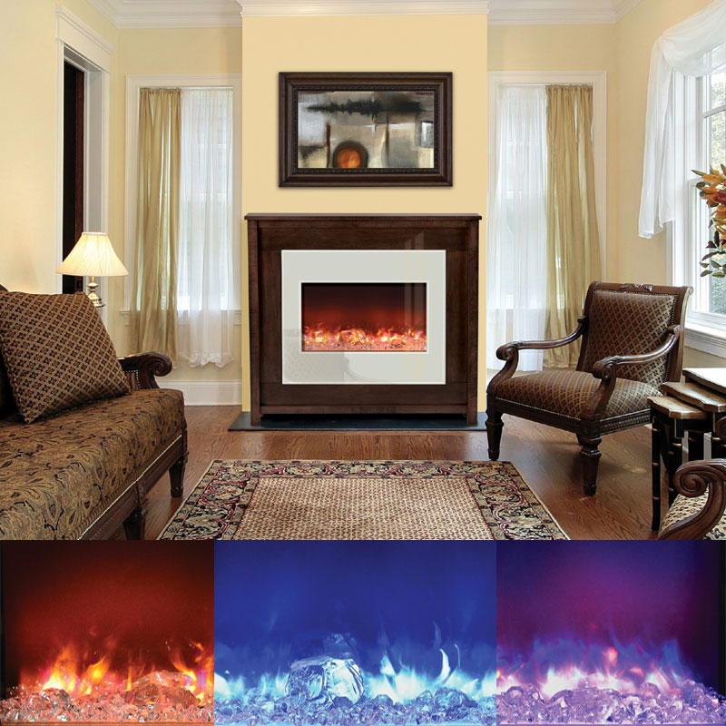 view a larger image of the amantii fire u0026 ice zero clearance electric fireplace w - Electric Fireplaces Clearance