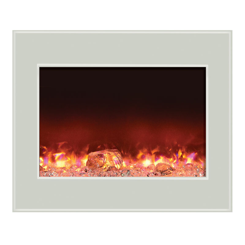 Amantii Fire Ice Zero Clearance Electric Fireplace W 41x34 In White Glass Surround Zecl 39