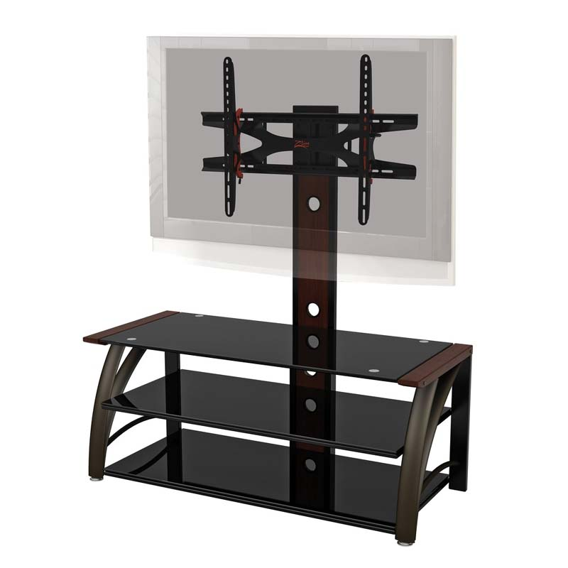z line designs paris 3 in 1 black glass 60 tv stand with integrated mount mahogany zl690 44mxviiu. Black Bedroom Furniture Sets. Home Design Ideas