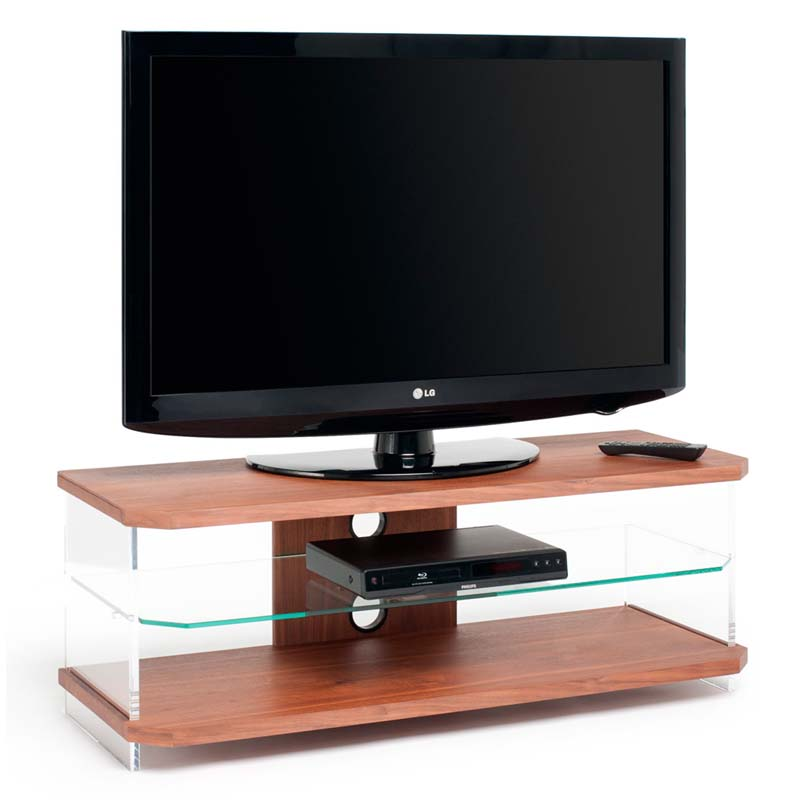 Techlink Air Series 55 In Tv Stand Walnut Acrylic And