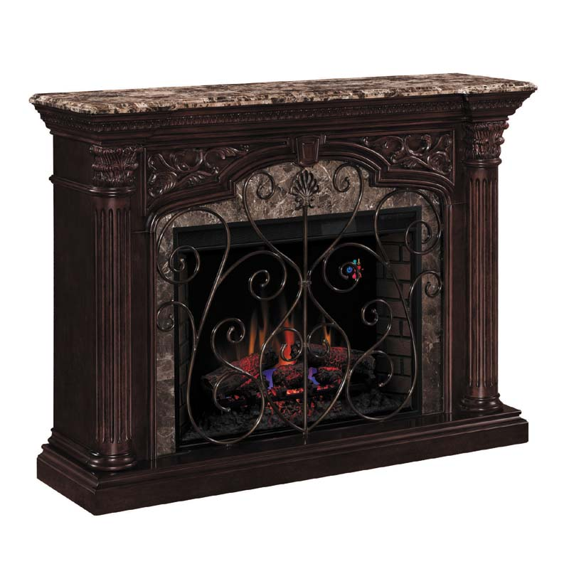 Classic Flame Astoria Wall Mantel Electric Fireplace With Marble Top Cherry 33wm0194 C232
