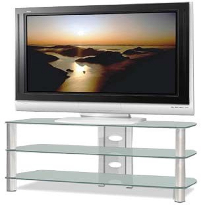 Tech Craft Sorrento Series Silver And Black Glass Tv Stand