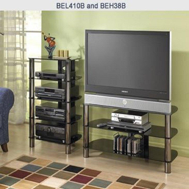Tech craft sorrento series silver and black glass tv stand for Tech craft tv stands
