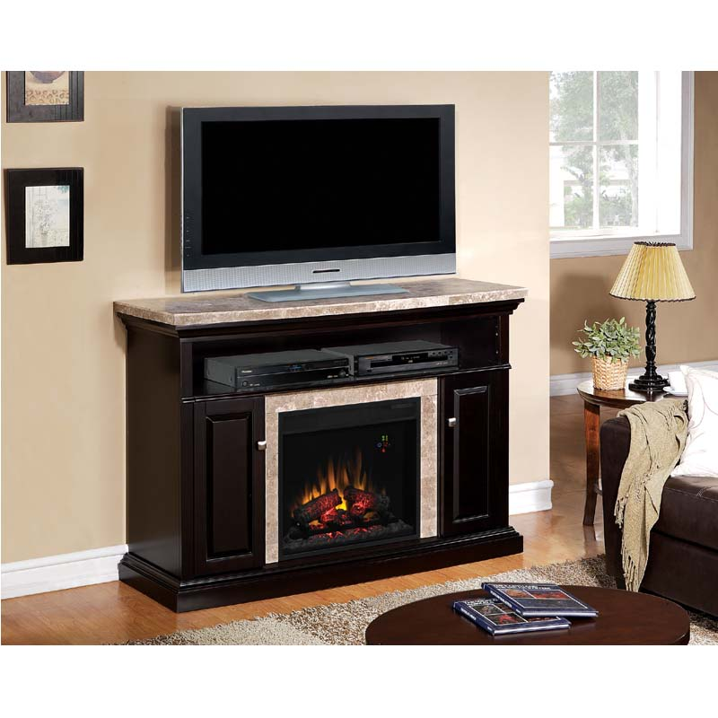 classic flame brighton media mantel with electric fireplace insert and marble top black - Electric Fireplaces Clearance