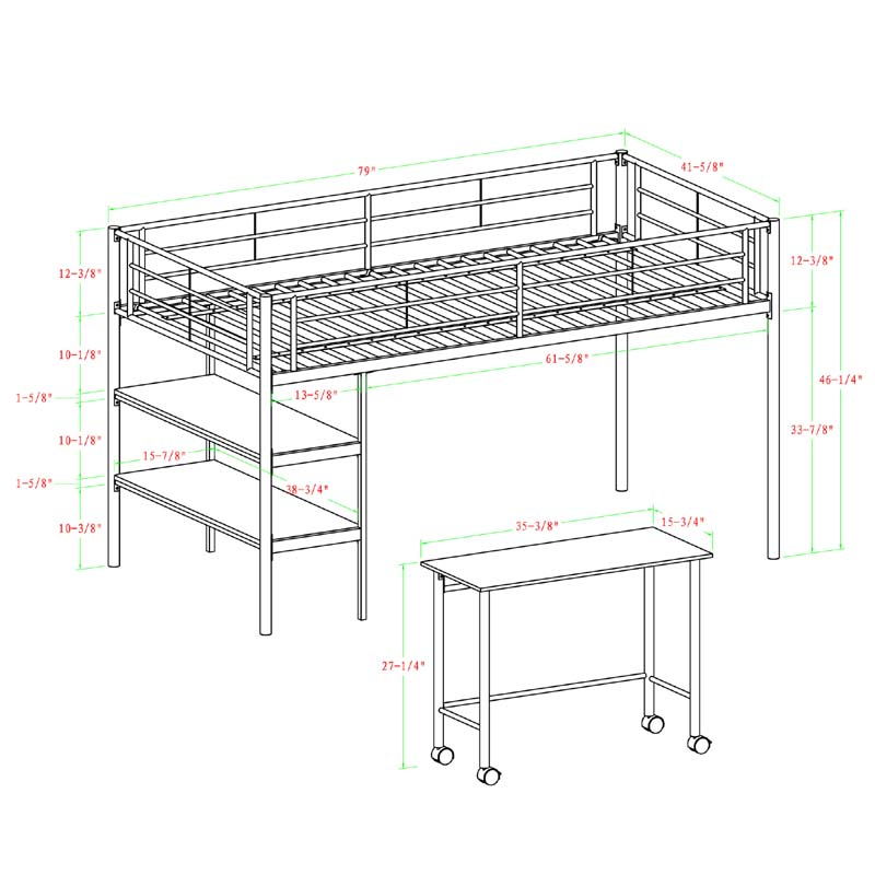 Walker Edison Metal Twin Low Loft Bed with Desk and