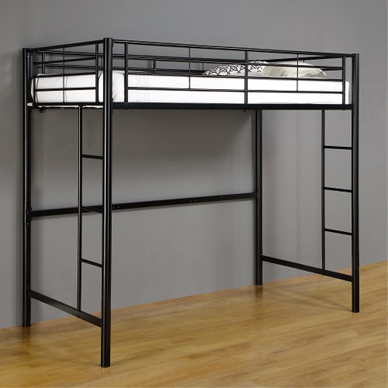 walker edison steel twin size loft bed black btolbl. Black Bedroom Furniture Sets. Home Design Ideas