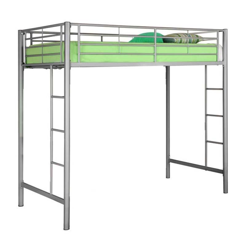 Walker Edison Steel Twin Size Loft Bed Silver Btolsl