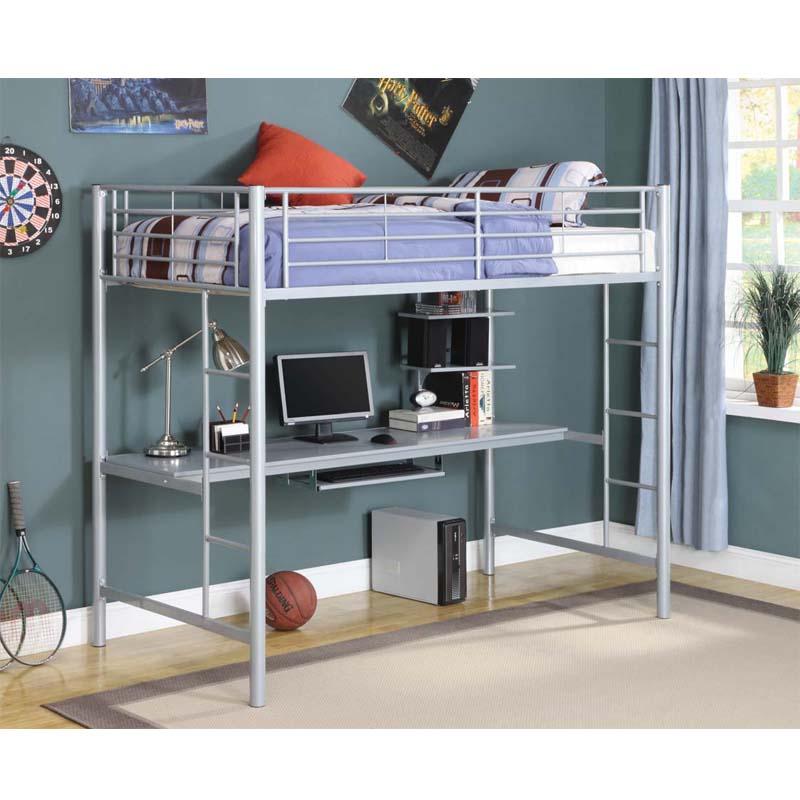 Walker Edison Metal Twin Loft Bed With Workstation Silver