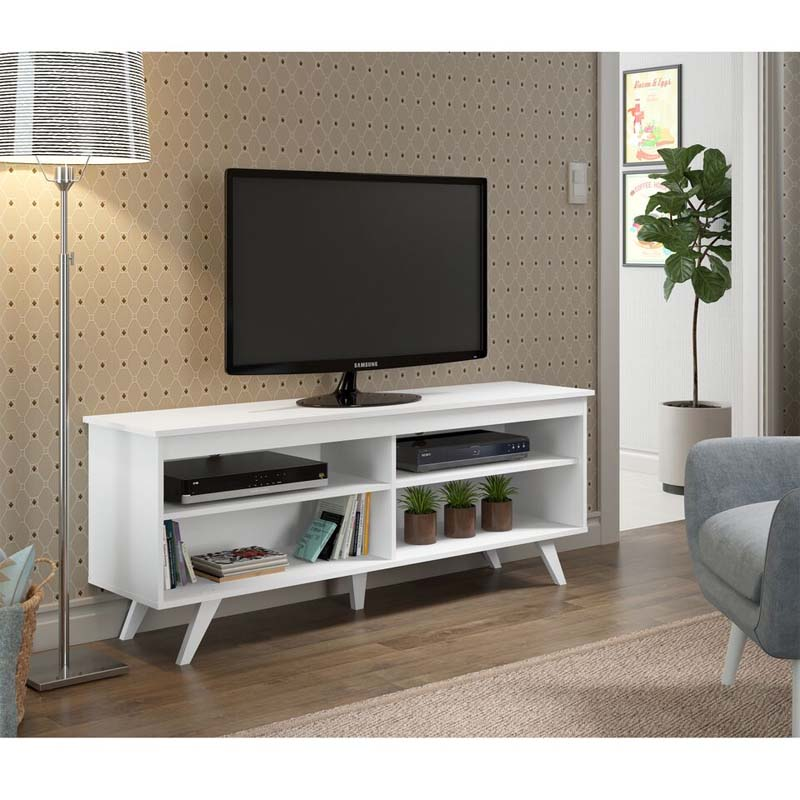 Walker Edison Simple Contemporary 58 Inch TV Stand (White