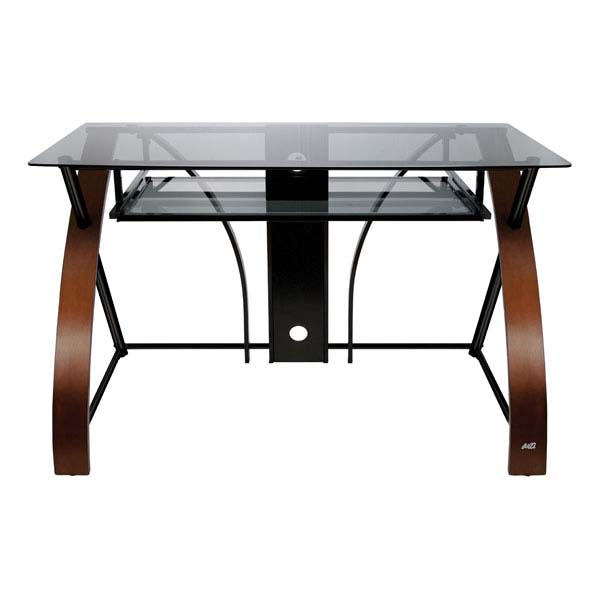 Bello Glass Computer Desk with Curved Wood Sides (Espresso) CD8841