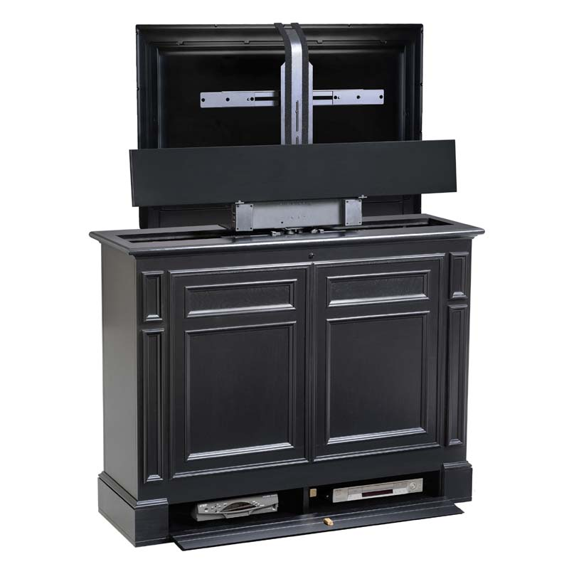 tv lift cabinet chatham series 360 swivel lift for 36 to 55 inch screens black at006612blk. Black Bedroom Furniture Sets. Home Design Ideas