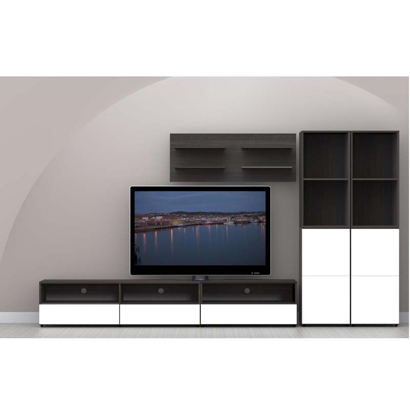 nexera allure collection 60 in tv stand with 2 drawers. Black Bedroom Furniture Sets. Home Design Ideas