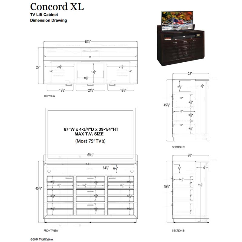 tv lift cabinet concord xl tv lift for 65 to 75 inch screens espresso at006502