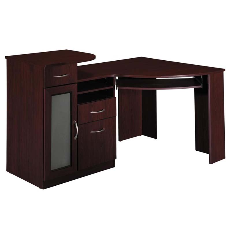 Corner desk office cherry computer desk bush furniture vantage w cpustorage ebay - Storage staples corner ...