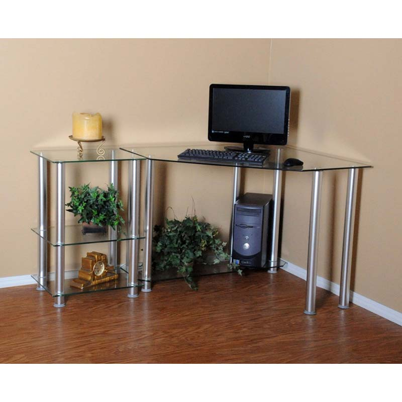 rta clear glass corner computer desk with 20 inch extension table silver ct 0135. Black Bedroom Furniture Sets. Home Design Ideas