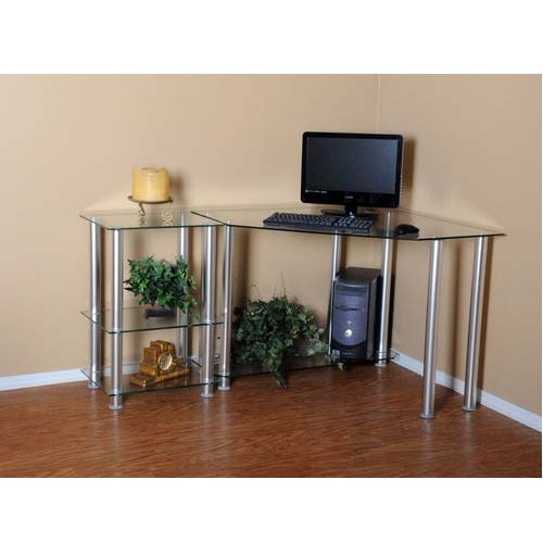rta glass corner computer desk with 20 extension table