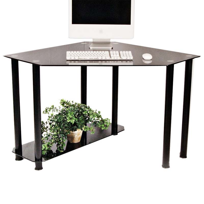 Rta Glass Corner Computer Desk Black Glass Ct 013b
