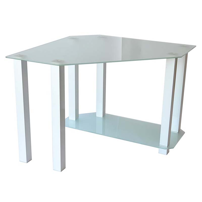 Rta Frosted Glass Corner Computer Desk White Ct 013w