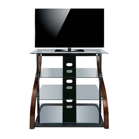 View a larger image of the Bello Curved Wood and Tinted Glass Tall TV Stand  for. Bello Curved Wood and Tinted Glass Tall TV Stand for 42 inch