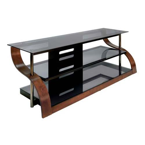 bello curved wood and black glass tv stand for 73 inch screens espresso cw342