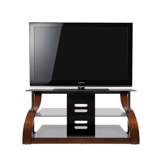 bello curved wood and black glass tv stand for 32 55 inch screens espresso cw343. Black Bedroom Furniture Sets. Home Design Ideas