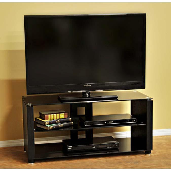 design 2 fit black glass 42 inch tv stand black d2f 209. Black Bedroom Furniture Sets. Home Design Ideas