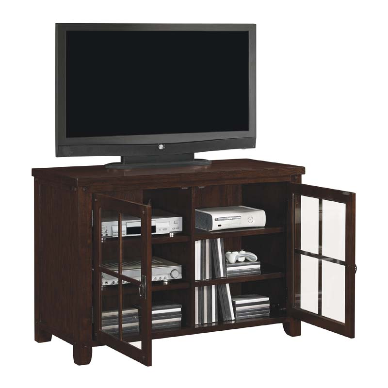 tresanti dakota collection 55 inch tv stand with windowpane doors caramel oak tc48 1066 o128. Black Bedroom Furniture Sets. Home Design Ideas