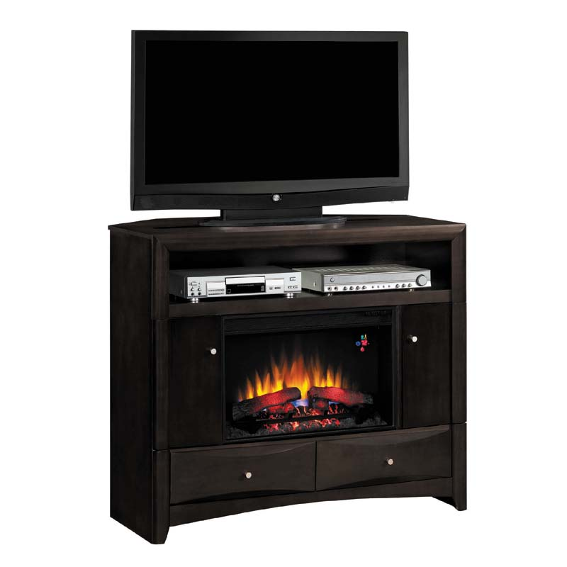 classic flame delray corner media mantel with electric