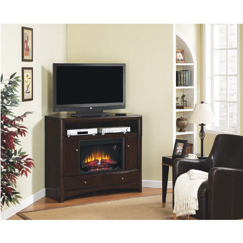classic delray corner media mantel with electric