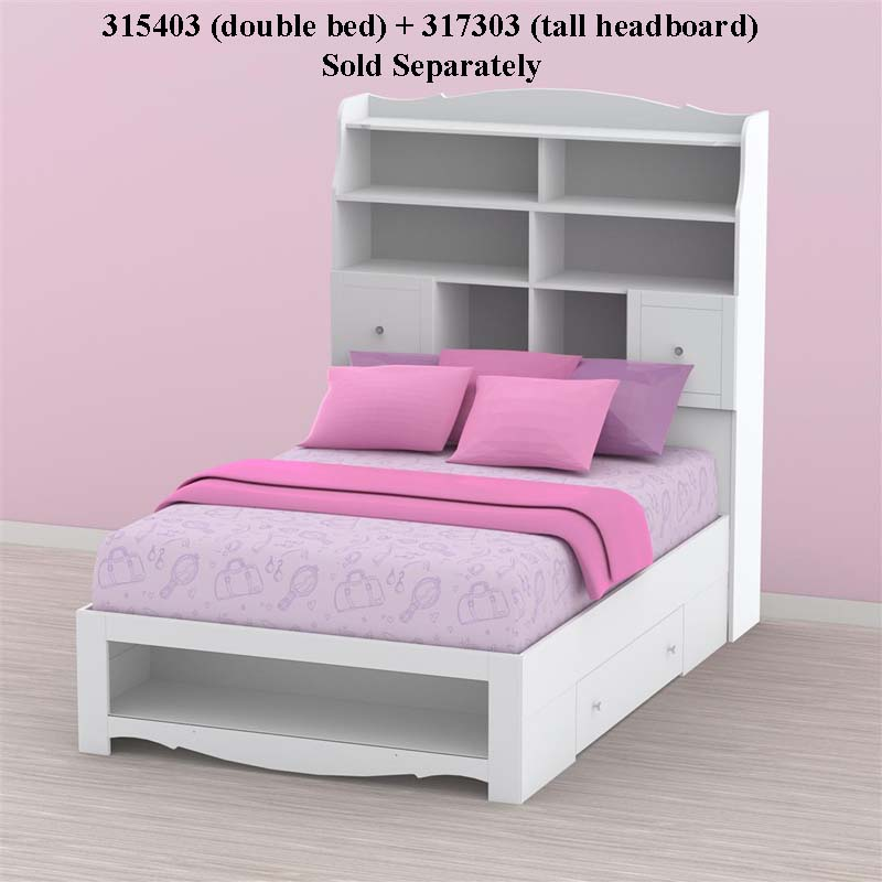 ... Nexera Pixel Collection Tall Headboard for Double Bed (White) 317303