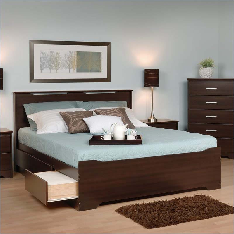 ... Queen Size Mate's Platform Storage Bed with 6 Drawers (Espresso) EBQ
