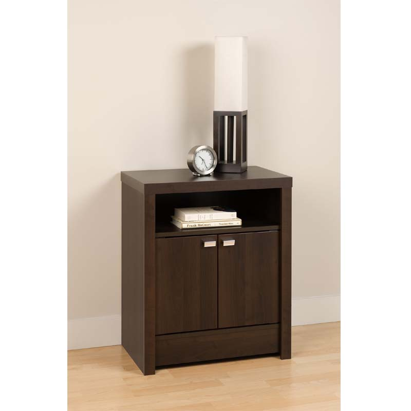 Prepac series 9 designer 2 door tall night stand espresso for Extra tall nightstands